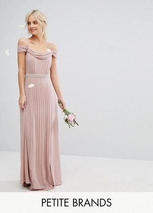 Элегантное нежное пудровое платье на выпускное asos