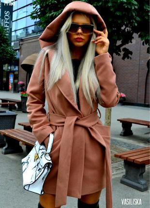 Двухбортное кашемировое пальто  с поясом и капюшоном