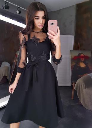 Черное платье миди с верхом из сетки с кружевом