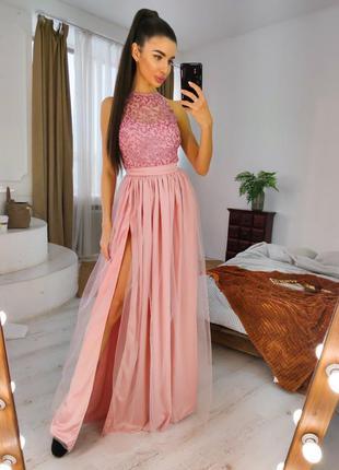 Длинное вечернее выпускное платье в пол с пышной фатиновой юбкой