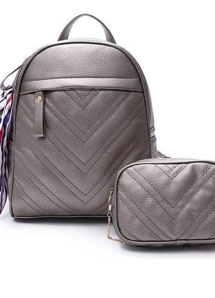 Набор женский - рюкзак и сумочка из экокожи бронзовый стильный