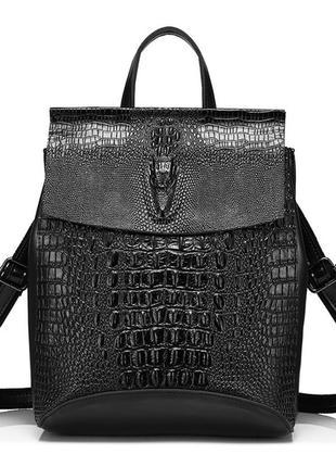 Рюкзак сумка женский трансформер с тиснением под крокодила кож...