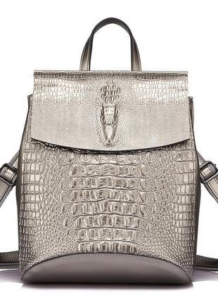 Рюкзак сумка трансформер женский кожаный с тиснением под кроко...