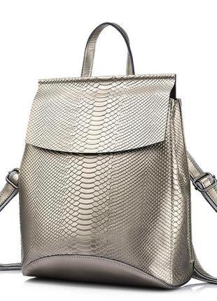 Рюкзак сумка трансформер женский кожаный с тиснением под репти...