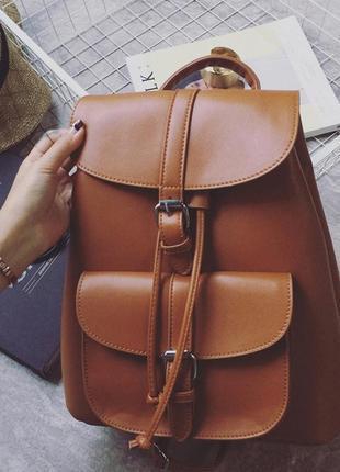 Рюкзак женский из экокожи для девушек коричневый