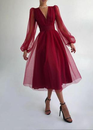 Элегантное платье миди сетка с пышной юбочкой и объемными рука...