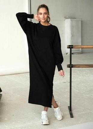 Теплое свободное платье миди оверсайз футер на флисе