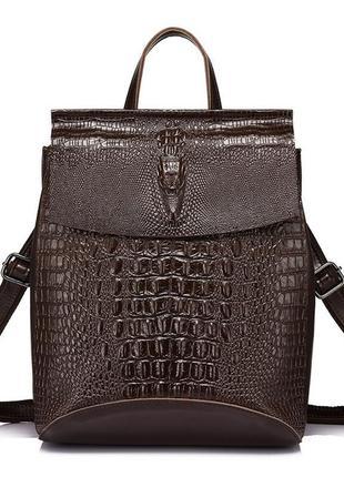 Рюкзак сумка трансформер женский городской кожаный с тиснением...