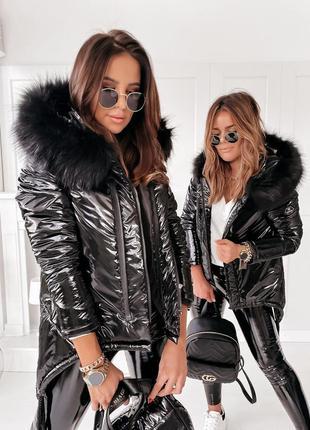 Теплая зимняя куртка с блеском монклер с мехом силикон 250
