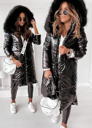 Теплая зимняя куртка с глянцевым блеском монклер, мех искусств...