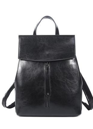 Рюкзак сумка кожаный женский стильный черный 0408