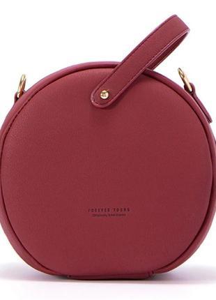 Сумочка женская круглая. сумка круглой формы цвета марсала, ви...