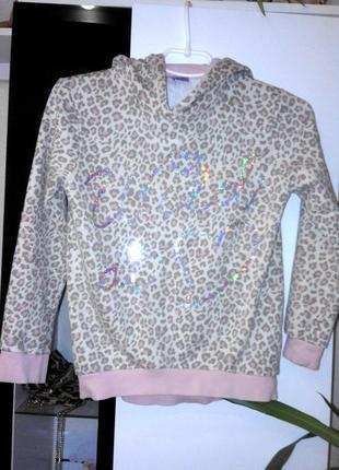 Очень классный розовый с леопардом и пайетками свитшот