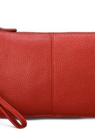 Сумка клатч женская из натуральной кожи красная