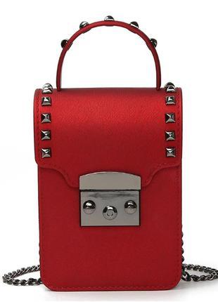 Стильная  маленькая женская сумочка из искусственной кожи с за...
