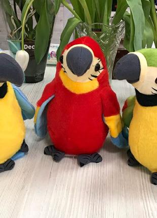 Интерактивная игрушка Попугай повторюшка,Мягкая игрушка папугай