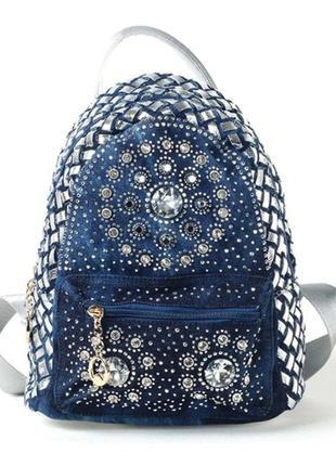 Рюкзак мини джинсовый женский со стразами (серебристый, золоти...