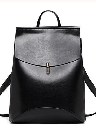 Рюкзак-сумка (трансформер) женский с клапаном и застежкой (чер...
