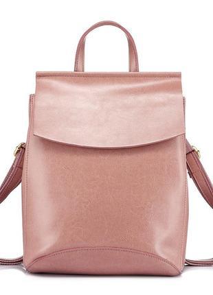 Рюкзак сумка женский кожаный с клапаном. трансформер из натура...