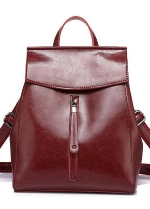 Рюкзак сумка трансформер женский кожаный с клапаном и вертикал...