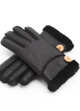 Перчатки женские зимние утепленные кожаные на меху из овчины ч...