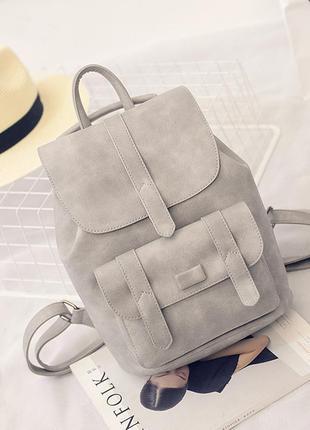 Рюкзак сумка трансформер серый молодежный кожаный