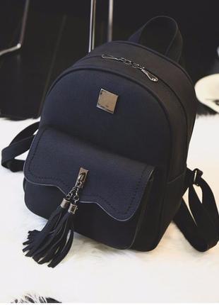 Рюкзак женский матовый кожаный с кисточками черный