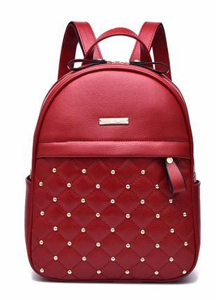 Рюкзак женский стеганый красный кожаный