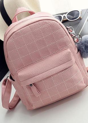 Рюкзак женский кожаный молодежный стильный с помпоном розовый