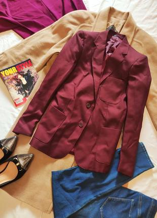 Пиджак жакет большой бордовый много карманов