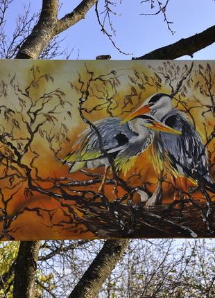 """Картина- """"Восточные птицы"""",масло,55*36см."""