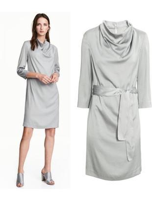 Нарядное серое платье из сатина