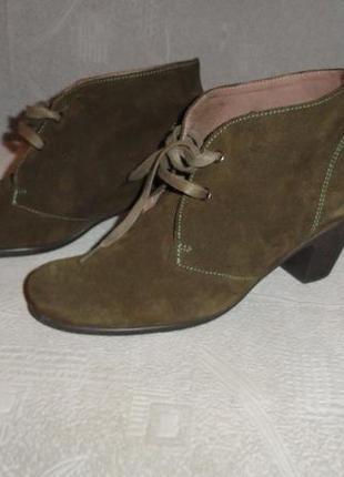 Ботинки оливкового цвета. р-р 40