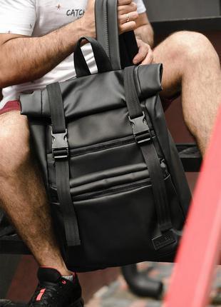 Стильный городской молодежный мужской черный рюкзак  рол топ/r...