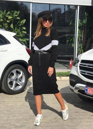 Черное вязаное миди платье до колен с длинными рукавами
