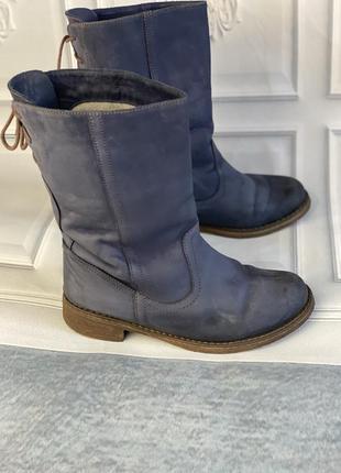 Зимние полусапоги, ботинки синие полностью натуральные