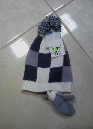 Стильный набор шапка и рукавички от mini gang франция