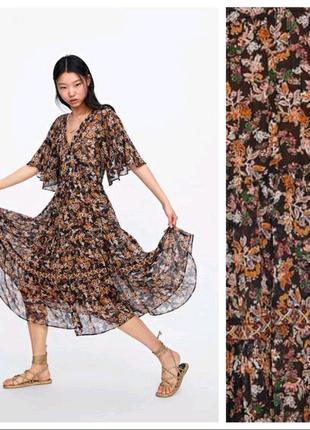 Ярусное платье миди шифон  Zara