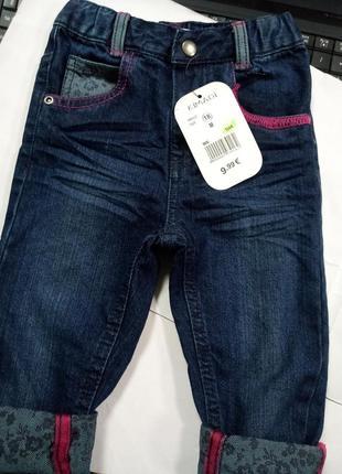 Хлопок! фирменные джинсы пояс на резинке 18 мес. kimadi