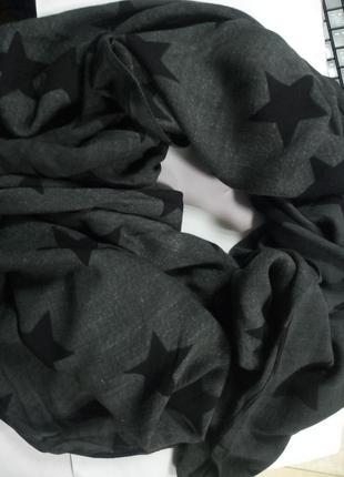 100% вискоза! мягкий графитовый шарф снуд 70 на 160 blue motion