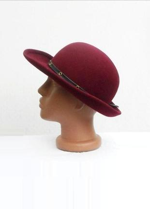 Бордовая осенняя шерстяная фетровая классическая шляпа федора ...