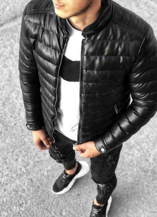 Топовая мужская демисезонная кожная куртка