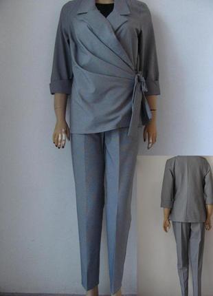 Классический женский костюм двойка в мелкую клеточку, пиджак с...