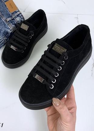 Чёрные замшевые кроссовки в стиле philipp plein,демисезонные к...