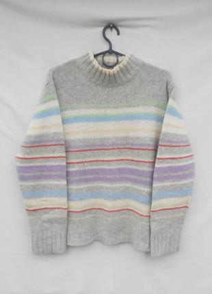 Теплый  шерстяной вязаный свитер в полоску с длинным рукавом