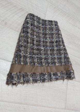 Коричневая юбка трапеция букле альпака шерсть