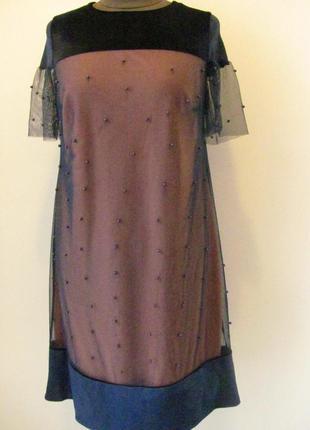 Платье нарядное трапеция персикового цвета с черной сеткой, 1371м