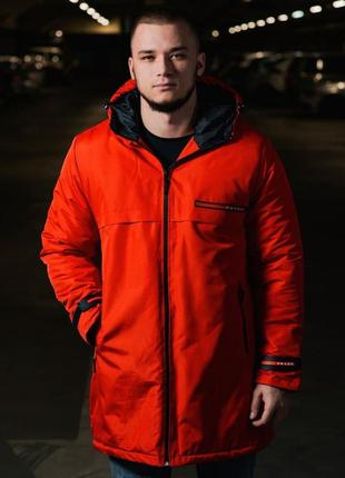 Парка мужская теплая prada красная / куртка чоловіча тепла кур...