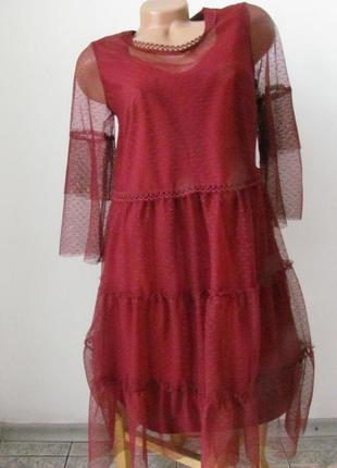 Платье нарядное актуального цвета с сеткой, код 1374м