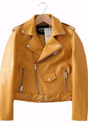 Куртка косуха еко кожа горчична